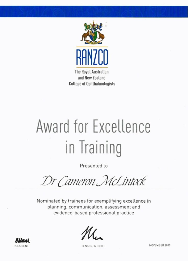Award for Excellence in Training